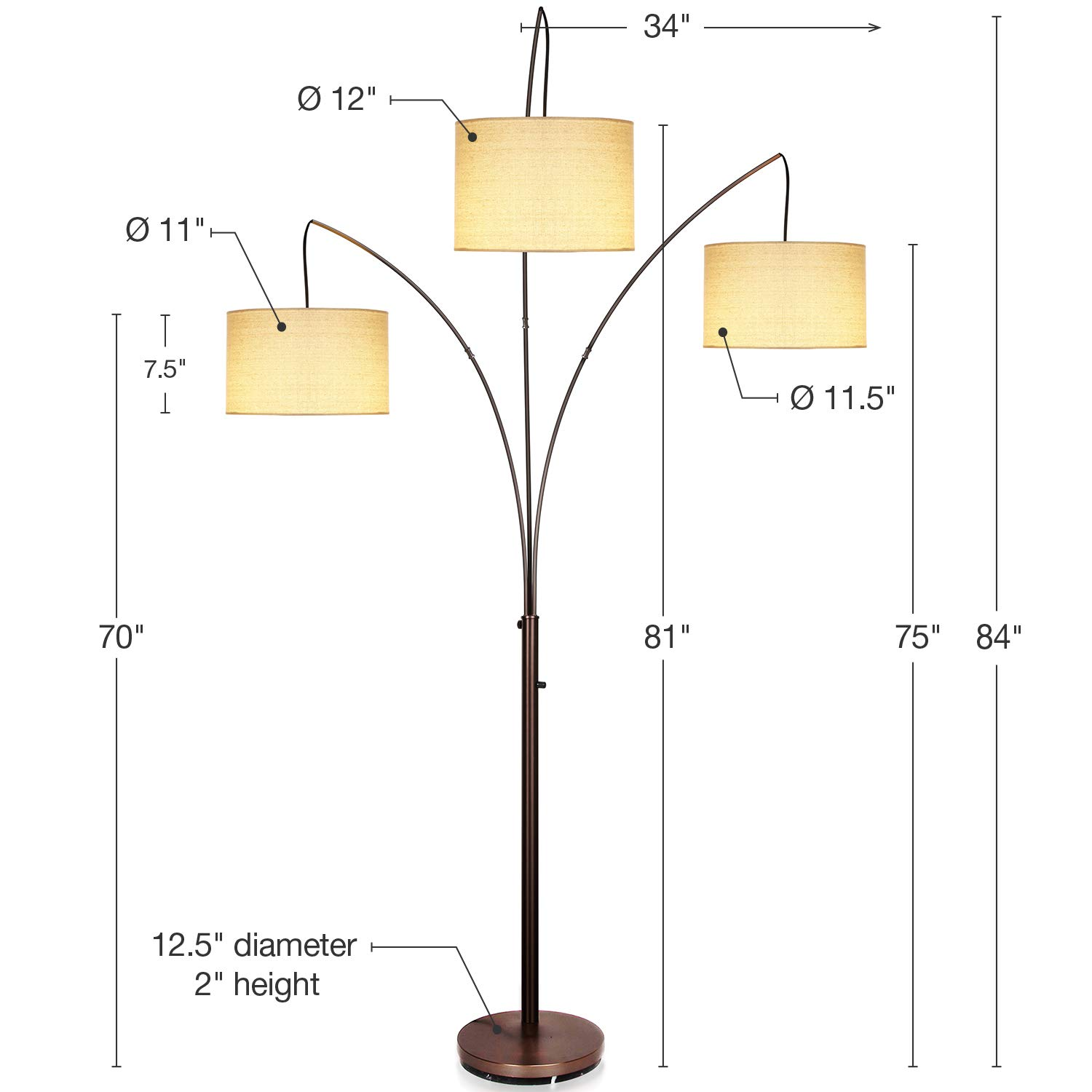 Brightech Trilage - Modern LED Arc Floor Lamp with Marble Base - Free Standing Behind The Couch Lamp for Living Room - 3 Hanging Lights, Great for Reading - Oil Rubbed Bronze by Brightech (Image #3)