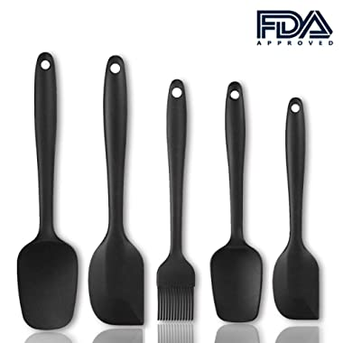 UHINOOS Heat Resistant Silicone Spatula Set - 5 Piece Spatula Set with Stainless Steel Core - Non Stick Rubber Spatula Kitchen Utensils Set for Baking Cooking and Mixing (Black)