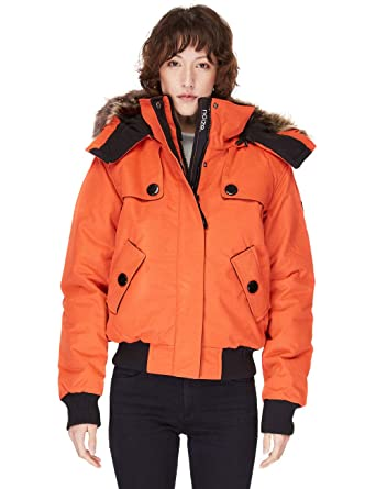 24e8603e7 Amazon.com: Noize Bomber Jacket, Women's Winter Coat, Faux Fur ...