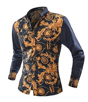 Versaces Los Hombres Camisa Simple Ocio La Moda Colorear La Solapa Manga Larga La Camisa: Amazon.es: Deportes y aire libre