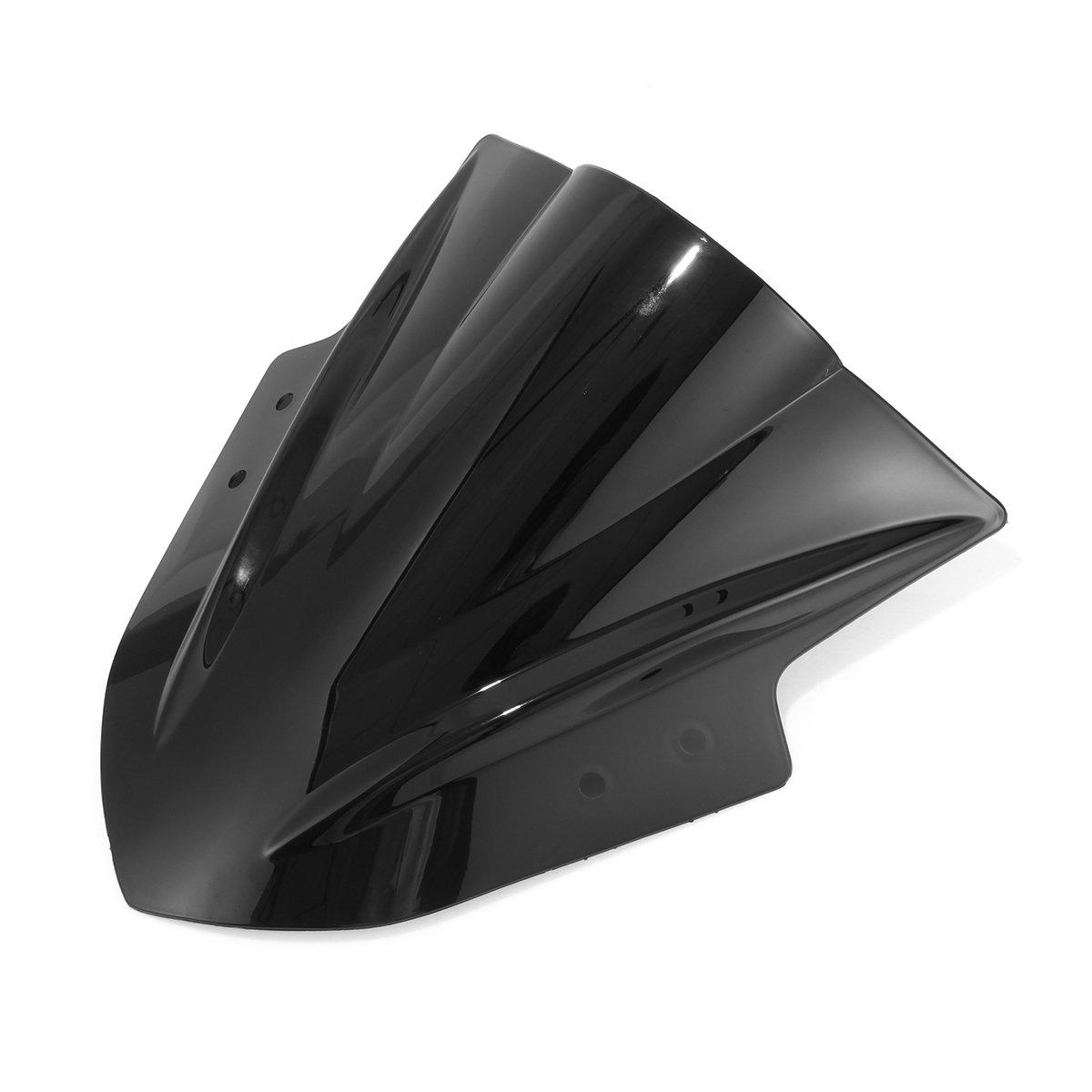 NEVERLAND Double Bubble Windshield WindScreen for Kawasaki Ninja 300 EX300 2013-2015 Black