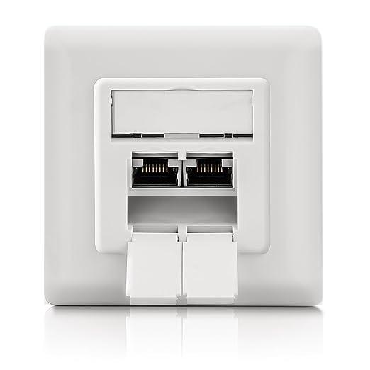 11 opinioni per deleyCON CAT 6 presa rete universale- 2x porte RJ45- schermata- Da muro/da