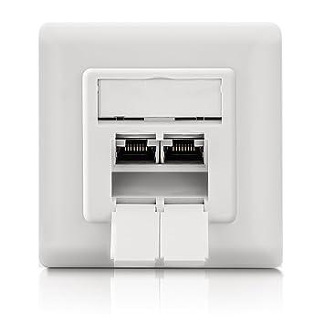 deleycon 4x keystone dose netzwerkdose datendose unterputz 8x cat 6a keystone jack modul rj45. Black Bedroom Furniture Sets. Home Design Ideas