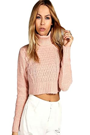 9aaecf448a7d New Ladies Womens Girls Turtle Neck Styish Cable Crop Jumper Sweater Top UK  8-14: Amazon.co.uk: Clothing