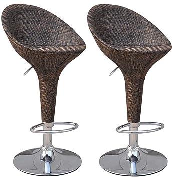 Fine Homcom Vintage Wicker Rattan Adjustable Bucket Seat Patio Bar Stool Set Of 2 Short Links Chair Design For Home Short Linksinfo