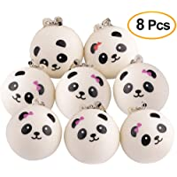 """Kuuqa 8 Pieces 1.57"""" Slow Rising Mini Panda Scented Squishy Toys Cute Squishies Charms Phone Key Chain Straps Kids Toy Gift Party Favors(Style Random)"""