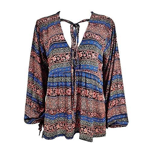 Femme Lilas Style Chemisier Mode Blouse Tops Boho Haut Elgante Vintage Ethnique Beach 3 V 4 Cou Bandage breal Manches Et Large Imprimer Chemise Modle 5qgqA