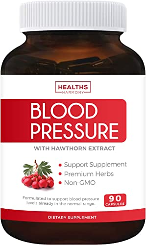 Blood Pressure Support Supplement Non-GMO – Premium Natural Herbs, Vitamins Berries – High Dosage of Hawthorn Extract Berry Lower Pills 90 Capsules