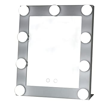 Yvettevans Hollywood Makeup Vanity Mirror with Light Tabletops Lighted  Dimmer Stage Beauty Valentine s Amazon com