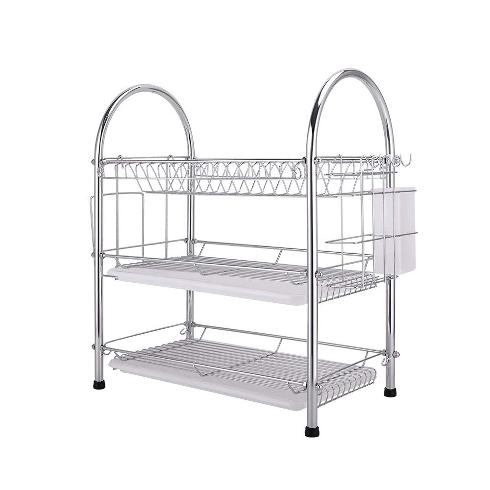 ASIERY Kitchen Finishing Storage Utensils Drying Rack Three-Layer draining Dishes, Knife and Fork, Storage and Dishes by ASIERY