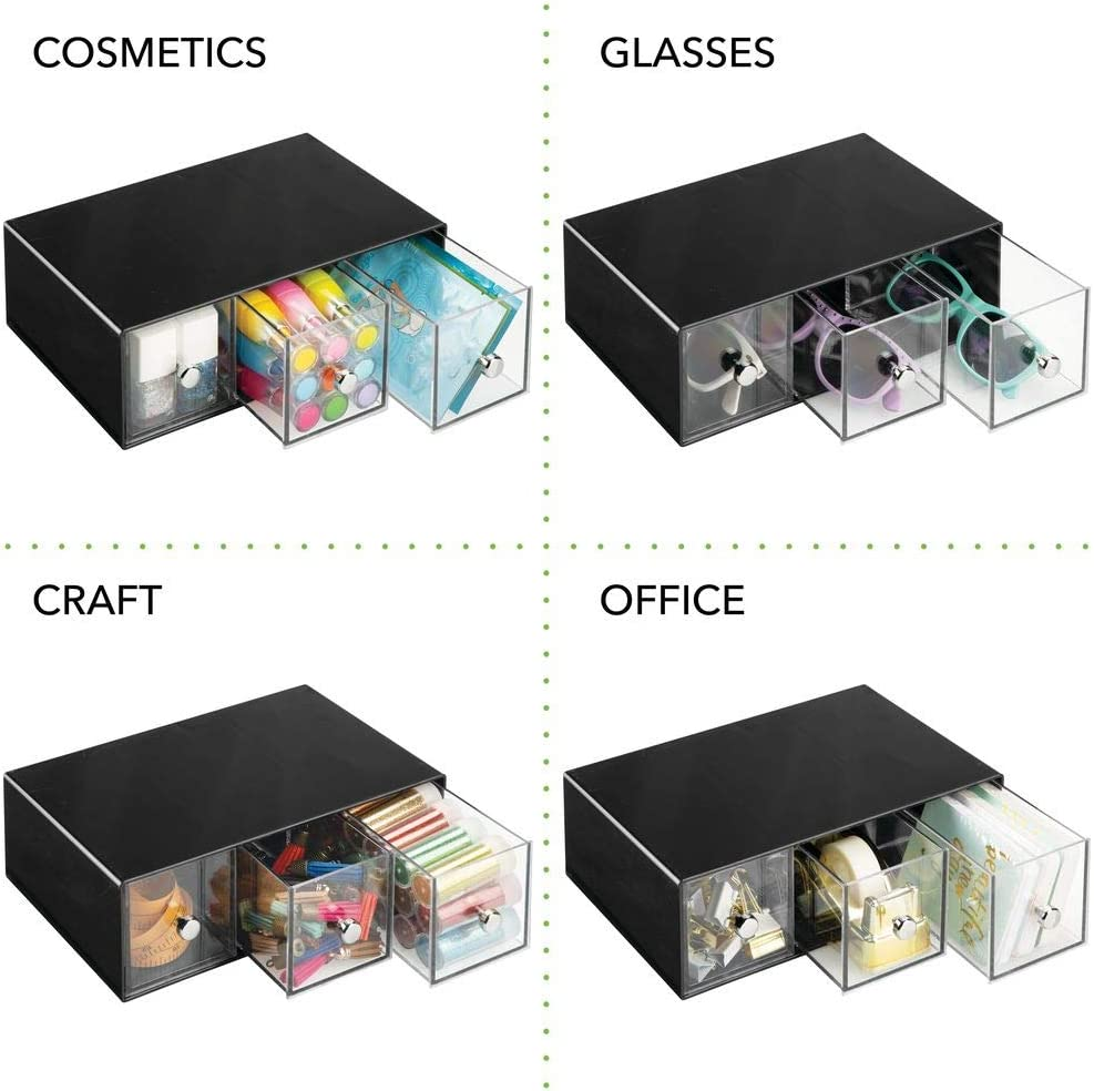 Space Saving Erasers Use Vertically or Horizontally Pencils mDesign Home Office Black//Clear Push Pins Tape Compact 3 Drawers Desk Organizer Storage Station for Storing Gel Pens Markers