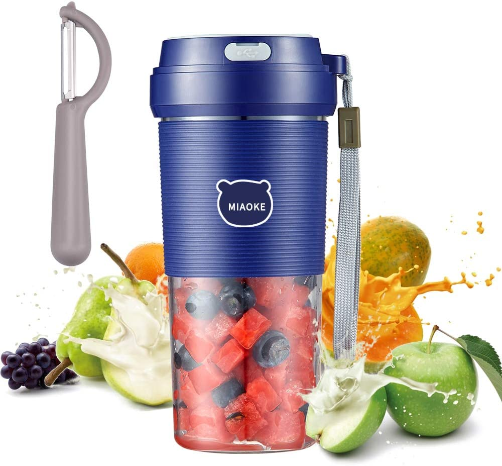 Portable Blender, Cordless Mini Personal Blender Small Smoothie Blender USB Fruit Juicer Mixer - Home Outdoor Travel Office - USB Rechargeable (blue)