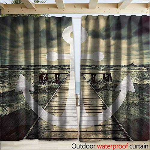 warmfamily Nautical Waterproof Sliding Door Curtains Ocean Waves with Pier W120 x L96 (Pier Right Lighted)