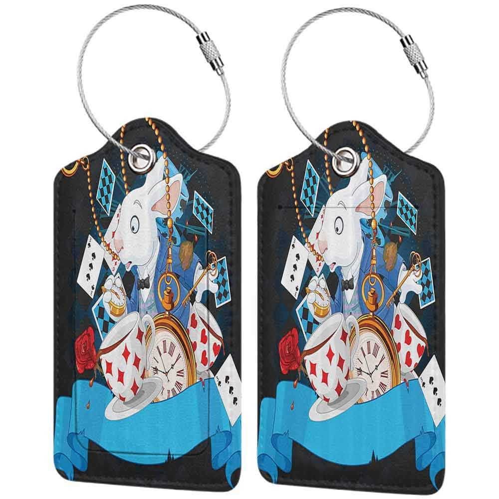 Personalized luggage tag Alice in Wonderland Decorations Rabbit Amazing with Motion Cups Hearts Rose Flower Character Alice Cartoon Easy to carry Multi W2.7 x L4.6