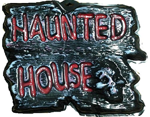 Gothic Warning Sign-HAUNTED HOUSE-Wall Door Plaque Halloween Prop Decoration-DIY ()