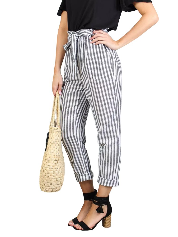 Liyuandian Womens Elegant Striped Belted High Waisted Cropped Pants Roll up Trousers
