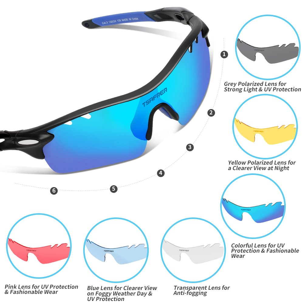 0cfb3cffae2 Amazon.com  Tsafrer Polarized Sports Sunglasses 2 Pairs for Men Women  Cycling Running Driving Fishing Golf Baseball (T1Black-Blue)  Sports    Outdoors