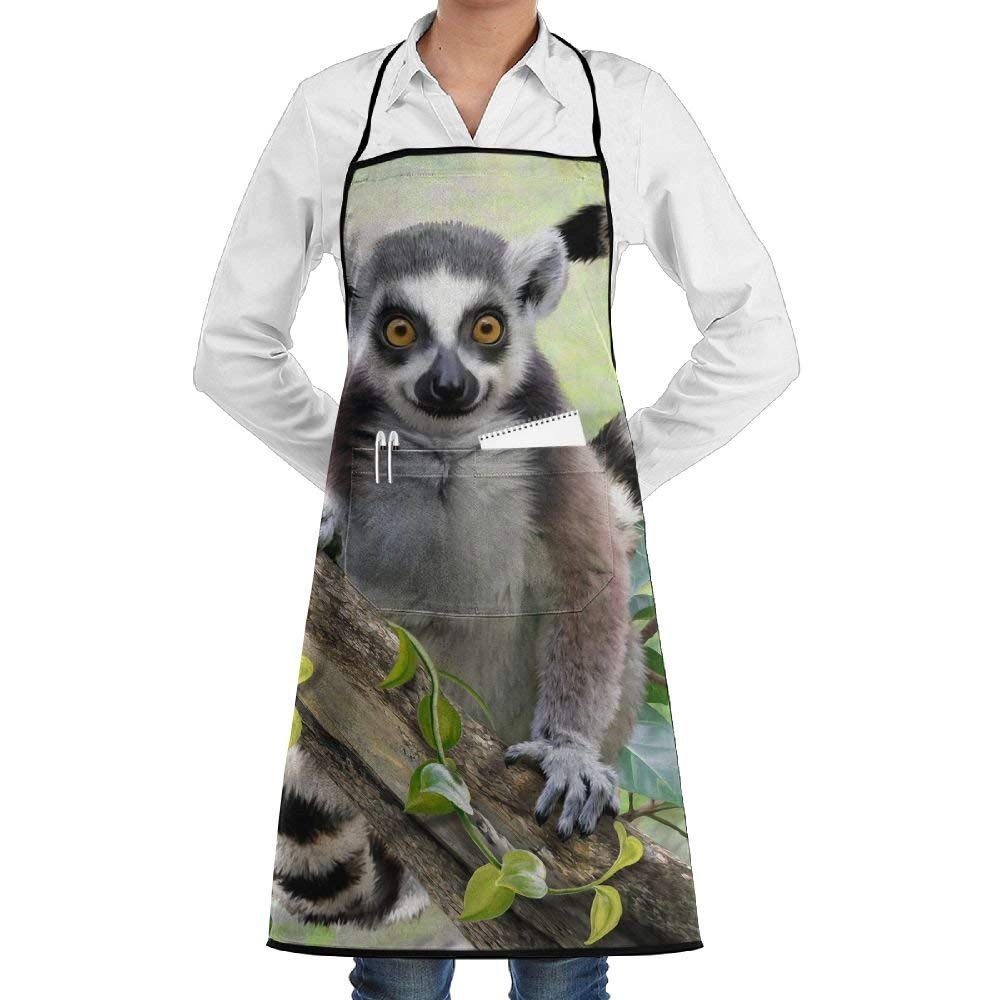 QIAOJIE Bib Apron Pockets Lemur Catta Durable Cooking Kitchen Aprons Can Embroidery