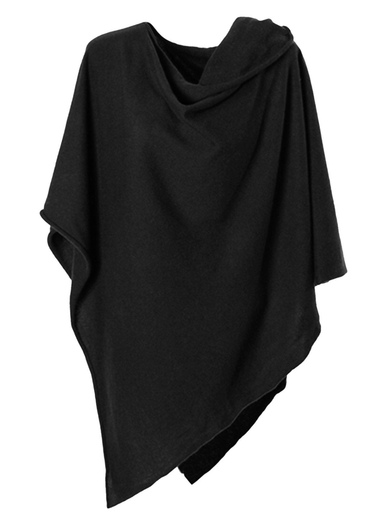 Anna Kristine Pure Cashmere Asymmetrical Draped Poncho - Obsidian Black