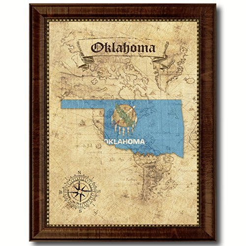 SpotColorArt Oklahoma State Vintage Map Flag Canvas Print with Custom Brown Picture Frame Gifts Home Decor Wall Art Decoration ()