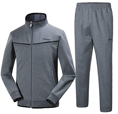 Cfzsyyw Mens Athletic Full Zip Jacket Pants Jogger Sports Sets Casual Tracksuit