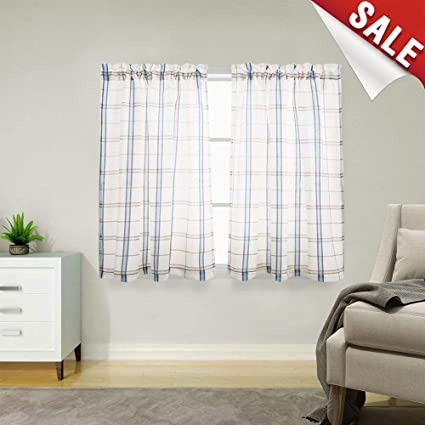 Classic Plaid Kitchen Curtains Gingham Checkered Design Linen Textured  Green and Taupe Striped Half Window Curtains for Bathroom, 2pcs 45 inches  ...