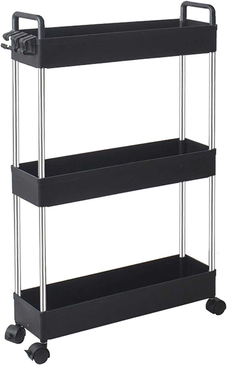 Amazon Com Solejazz Storage Cart 3 Tier Slim Mobile Shelving Unit Rolling Bathroom Carts With Handle For Kitchen Bathroom Laundry Room Narrow Places Black Kitchen Dining