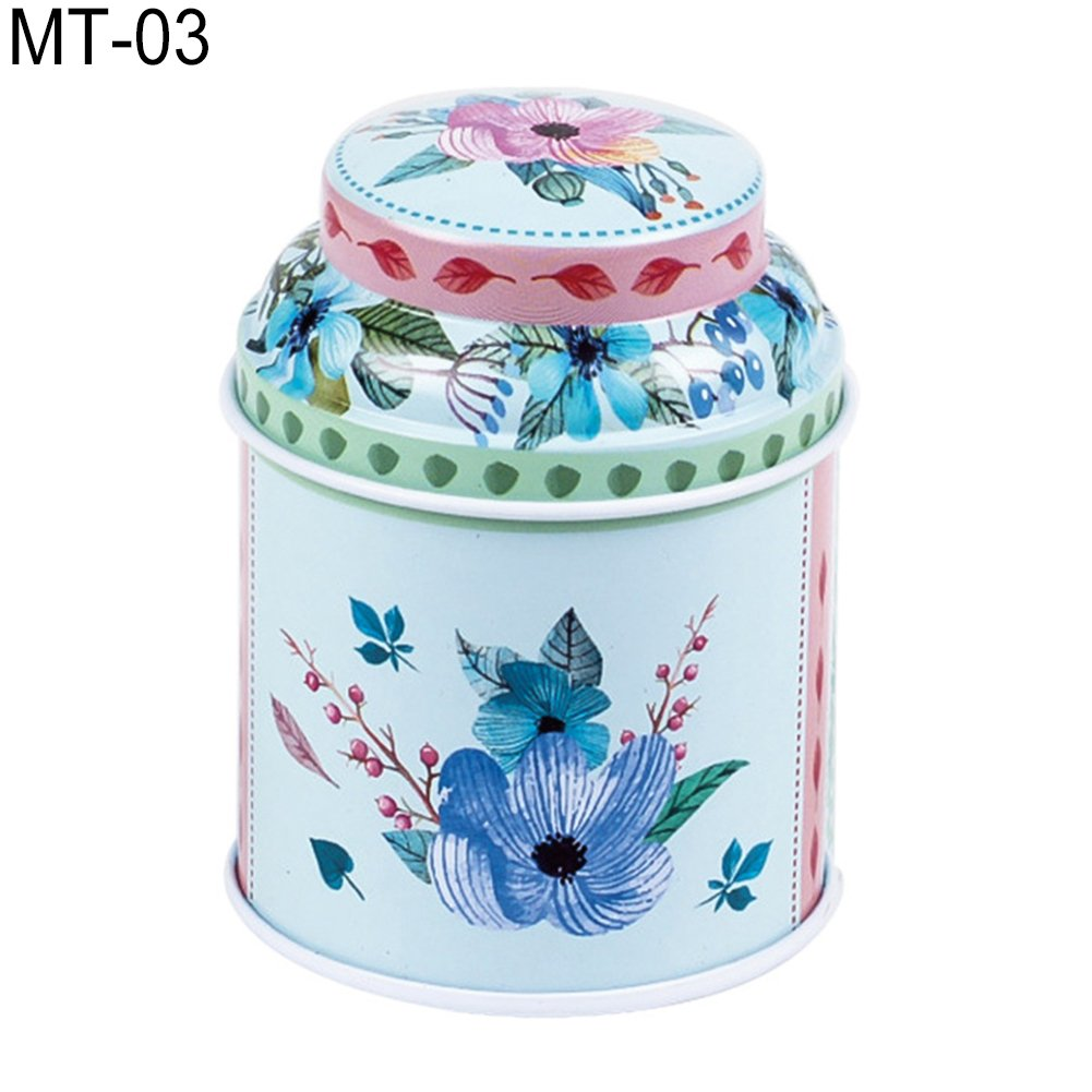 dezirZJjx Tea Container, Premium Tinplate Caddy Box Vintage Flowers Cylinder Round Tea Tins for Home Kitchen Storage Containers Colorful Tins- MT-03
