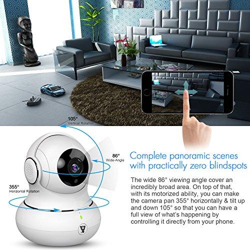 Littlelf Cámara IP de Seguridad, 1080P HD Cámara de Vigilancia Panorámica 3D Pan/Tilt/Zoom WiFi Inalámbrica con Detección de Movimiento, Visión Nocturna, ...