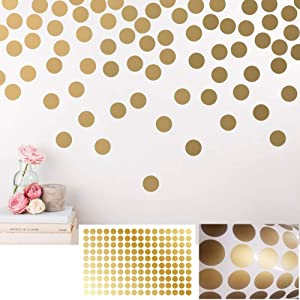 BATTOO Peel and Stick Gold Wall Decal Confetti Polka Dots - 1.5 inch 196 pcs - Safe for Walls & Paint - Metallic Gold Vinyl Round Circle Art Wall Stickers Large Sheet Baby Nursery Room Set