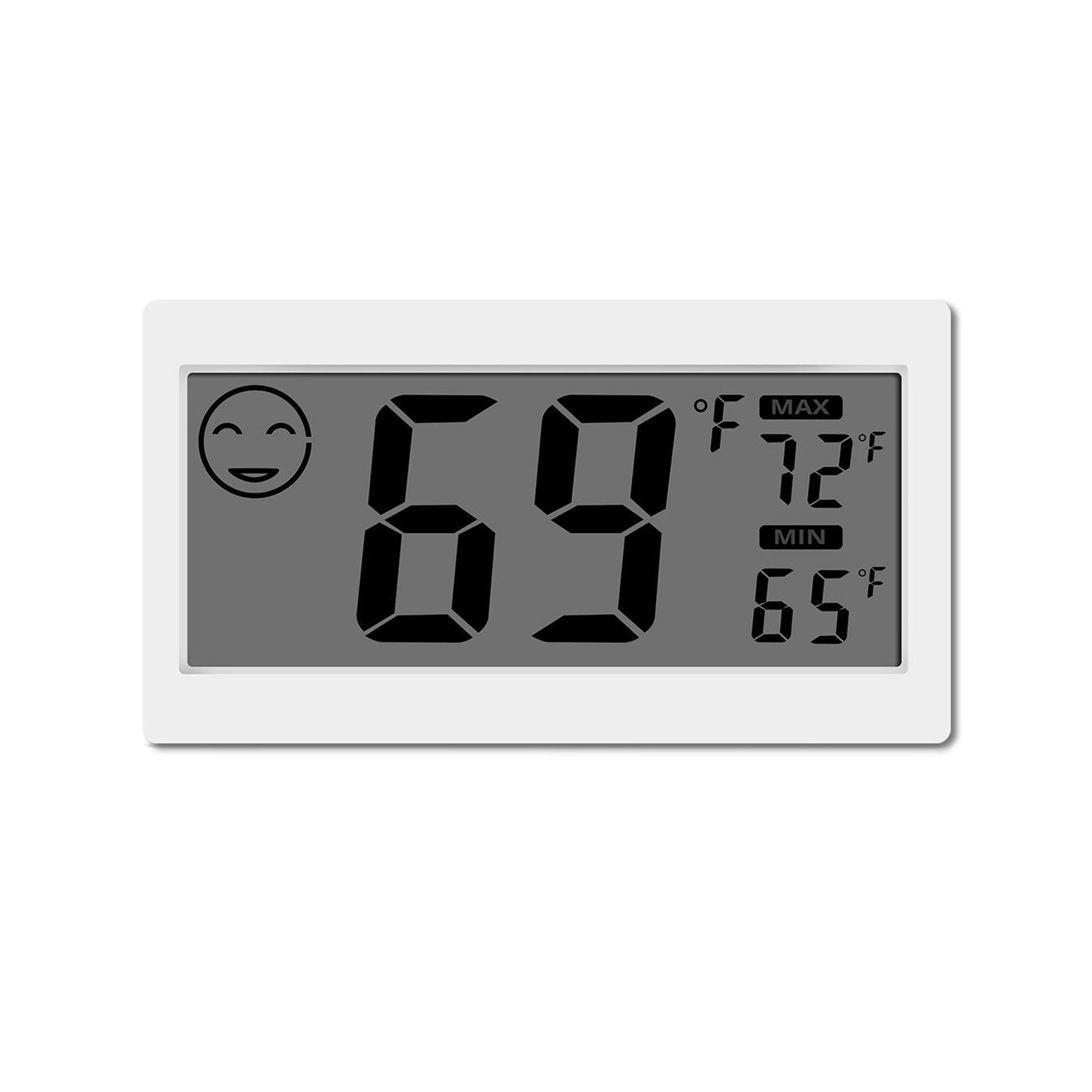 Termometro digitale Igrometro per interni Misuratore di umidità per ambienti con schermo grande Stand per appendere a muro Magnete per cucina Magnetic Greenhouse Car YiePhiot