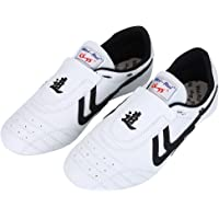 Alomejor Zapatos de Taekwondo Artes Marciales Zapatilla de Boxeo Karate Kung Fu Tai Chi Zapatos Zapatillas de Rayas Negras Zapatillas Ligeras