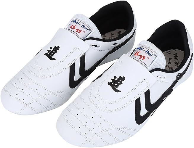 Alomejor Taekwondo Schuhe Kampfkunst Sneaker Boxen Karate Kung Fu Tai Chi Schuhe Schwarze Streifen Turnschuhe leichte Schuhe