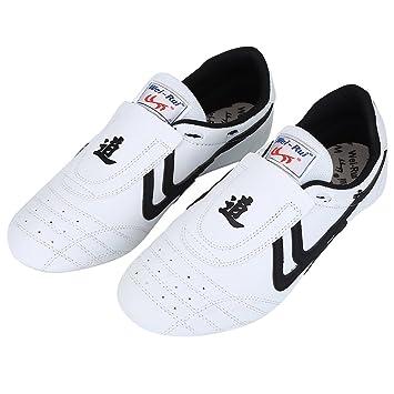 Alomejor Zapatos de Taekwondo Artes Marciales Zapatilla de Boxeo Karate Kung Fu Tai Chi Zapatos Zapatillas de Rayas Negras Zapatillas Ligeras: Amazon.es: ...
