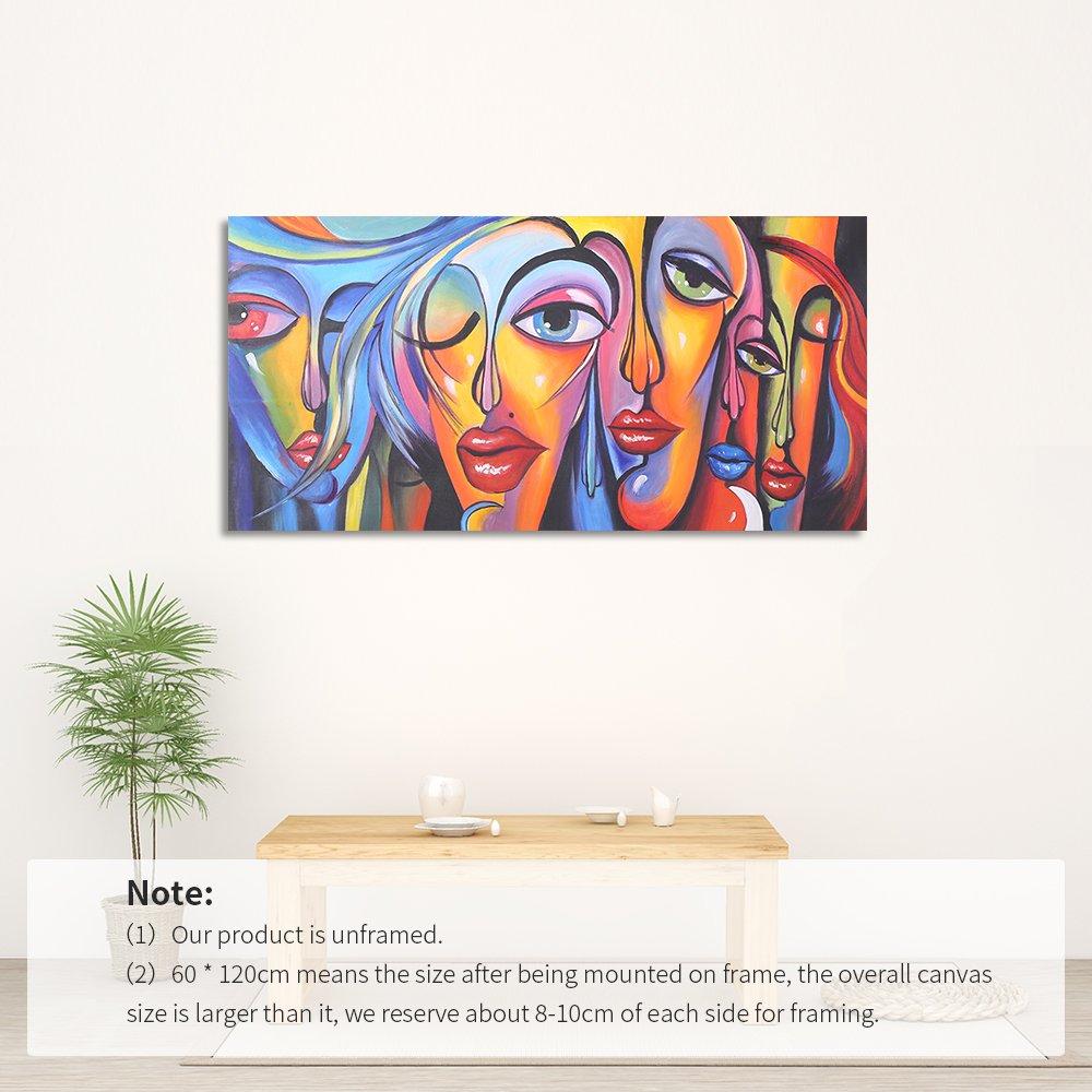 Decdeal Gemälde Ölbild auf Leinwand 100% Handgemalt Damen Gesicht ...