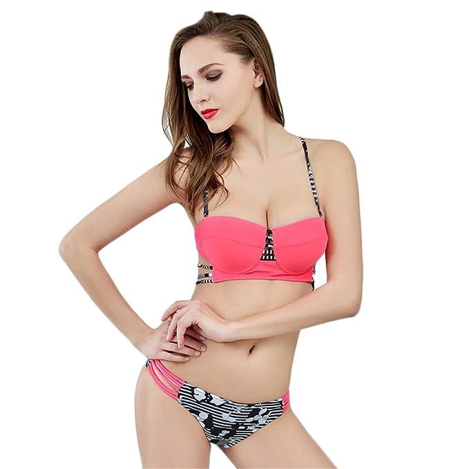 DaBag- Verano Mujer Sling Impresión Triangle Bikini Traje de baño Pechos Pequeños Push-up Bañador De Dos Piezas Conjuntos: Amazon.es: Ropa y accesorios