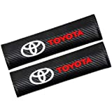Viffly シートベルトカバー 車の安全シートベルトショルダー Toyota トヨタの、カーボンファイバーカーシートベルトショルダーストラップパッド 2個セット