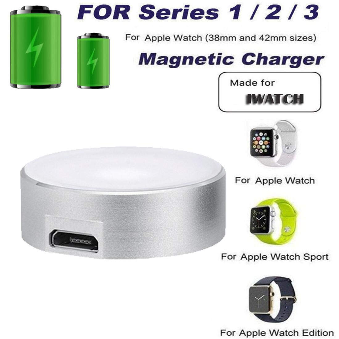 Botrong Charger, Compatible with Apple Watch Series 1/2/3/ iWatch Magnetic Charger Charging Pad Cable 38/42mm (Silver)