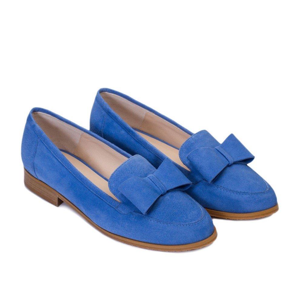 GENNIA Damaris Azul Claro - Mocasines para Mujer de Cuero y con Mini Tacón de 1 cm: Amazon.es: Zapatos y complementos