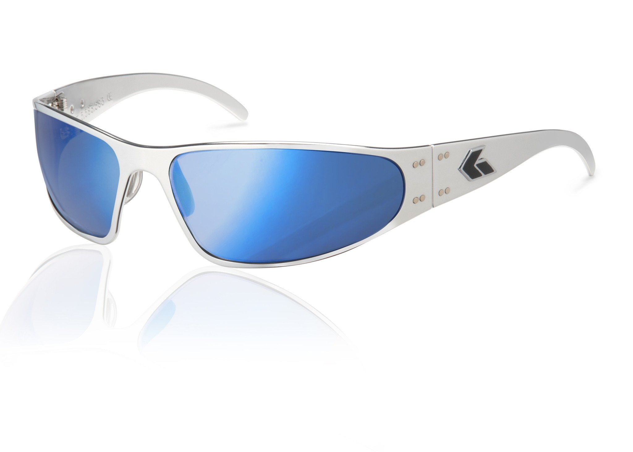 Gatorz Eyewear, Wraptor Model, Aluminum Frame Sunglasses - Polish/Smoked w/ Blue Mirror Lens by Gatorz