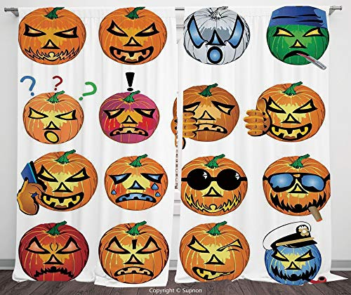 Rod Pocket Curtain Panel Polyester Translucent Curtains for Bedroom Living Room Dorm Kitchen Cafe/2 Curtain Panels/55 x 45 Inch/Halloween Decorations,Carved Pumpkin with Emoji Faces Halloween Humor Hi -