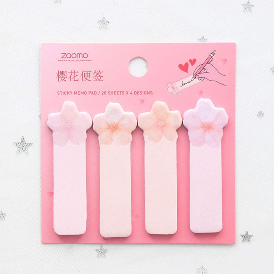 SHengyan Extraordinary 1 Pezzo Sakura Animals Memo Pad Book Planner Sticker segnalibro Rosa per la Decorazione della casa Sakura