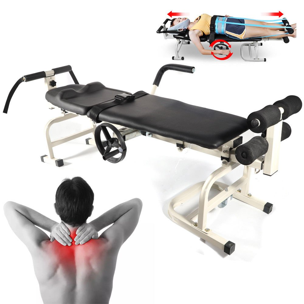 Cervical Lumbar Traction Bed, Body Stretching Spine Extension Leg Traction Bed, Cervical Stretcher Vertebra Lumbar Spine Massage Table for Physical Therapy Shoulder Acid, Hands & Feet Numbness