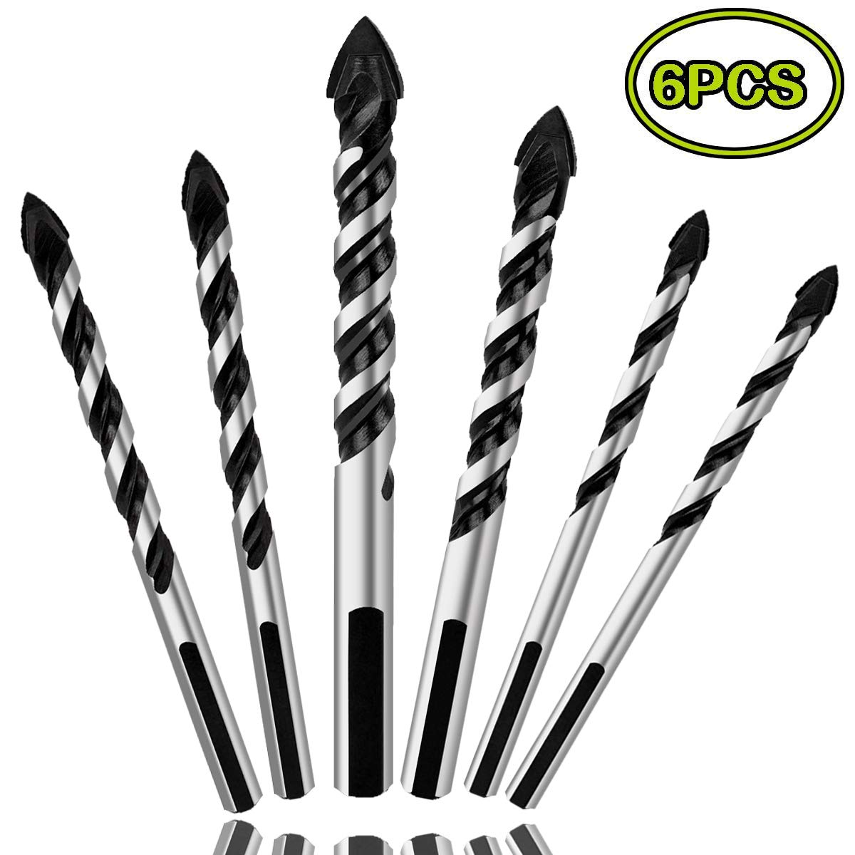 6PCS Ceramic Tile Drill Bits, Mgtgbao Masonry Drill Bits Set for Glass, Brick, Tile, Concrete, Plastic and Wood Tungsten Carbide Tip for Wall Mirror and Ceramic Tile with size 6, 6, 8, 8,10,12mm. 61YRNbljHDL