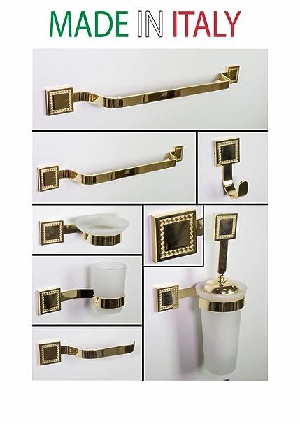 Accessori Bagno Ottone Oro.Joshop Set Accessori Per Il Bagno 8 Pezzi Ottone Luxor Oro
