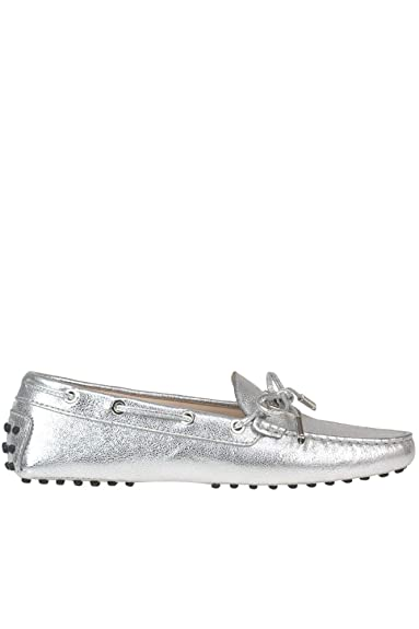 c69ae4ef12c Tod s Women s MCGLCAB000005019E Silver Leather Loafers  Amazon.co.uk ...