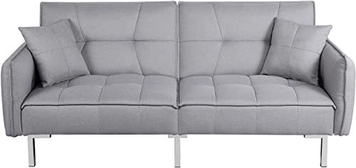 Yaheetech Sleeper Sofa Couch Bed Convertible Sofa Modern Futon Couches Sofas Bed Fold Up and Down Linen Fabric Recliner Couch