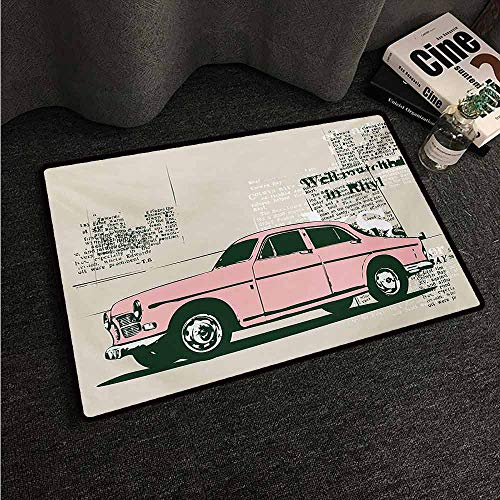 (HCCJLCKS Thin Door mat Vintage Car Old Model Car and Newspaper Cuts Antique Style Classic Urban Life Illustration All Season General W31 xL47 Pink Beige)