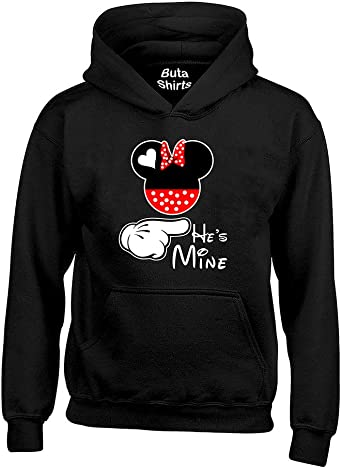 Cartoon Writing Shes Mine Couples Matching loves Crewneck Sweater