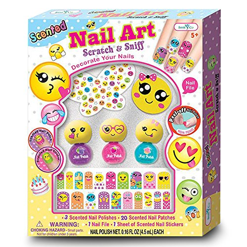 SmitCo LLC Nail Kit For Girls - Non Toxic Emoji Themed Nail Art Polish Kit Or Spa Station For Kids - Includes Scented, Stickers, Peel-Off Nail Polish, Nail Patches,A File and Stickies